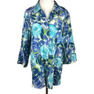 Basic Editions Button Down Dress Shirt Floral 1X